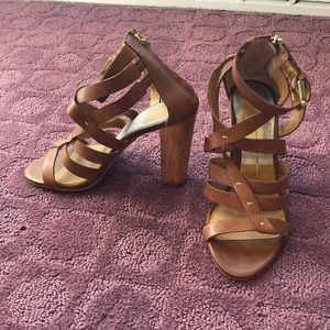 Dolce Vita Tan Leather Heeled Sandals Size 6